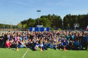 общее фото учатсников акции на стадионе Юность